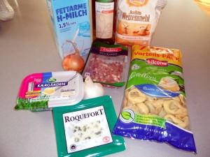 Tortelloni mit Roquefort-Schinken-Soße
